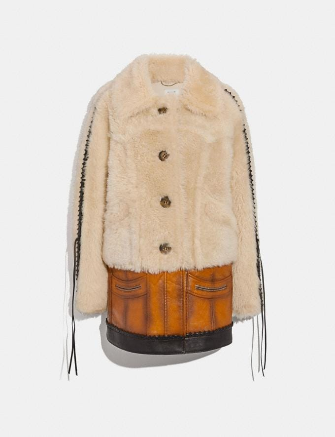 Coach Shearling Leather Coat Natural