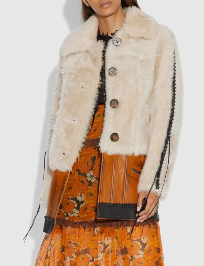 Coach Shearling Leather Coat Natural  Alternate View 1