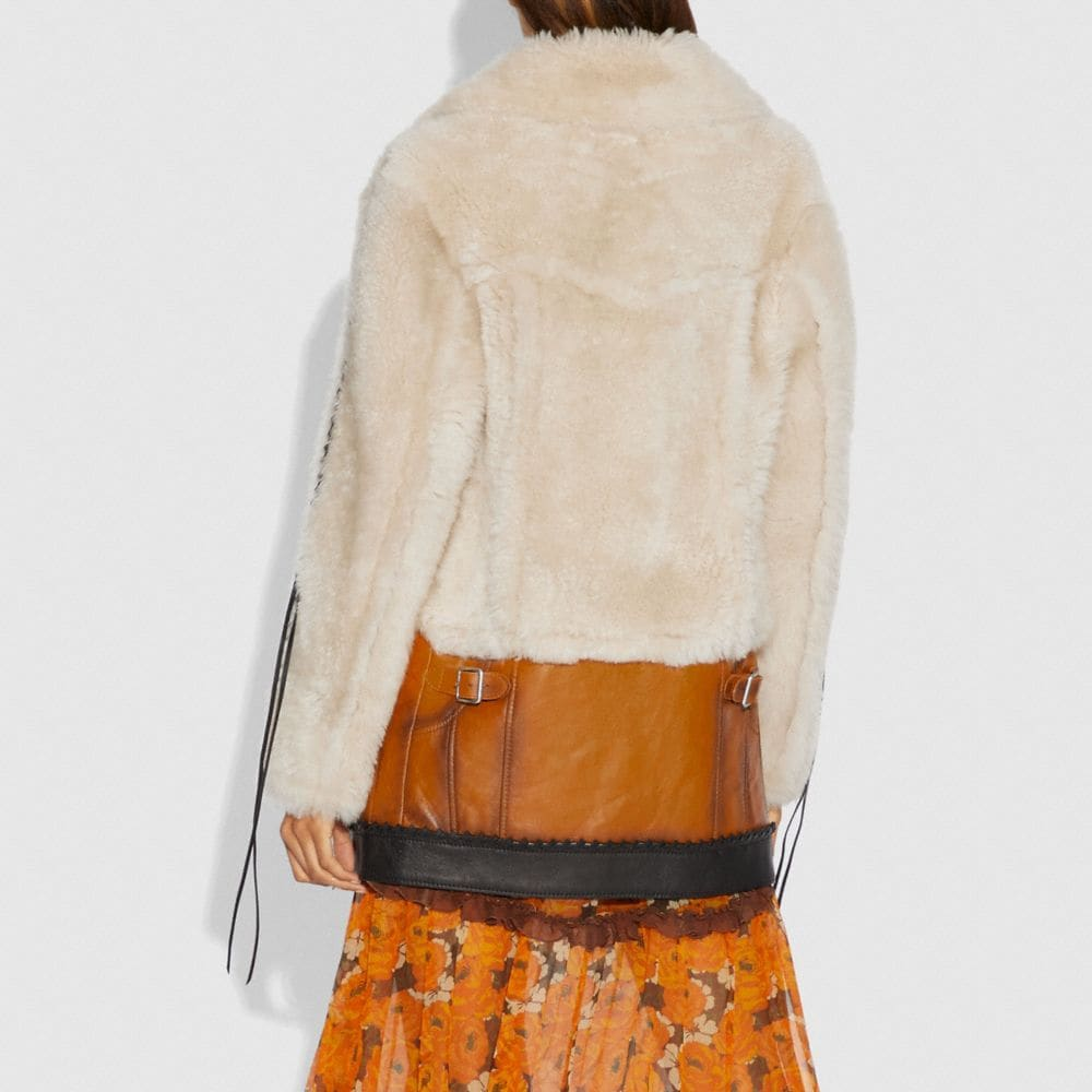 Coach Shearling Leather Coat Alternate View 2