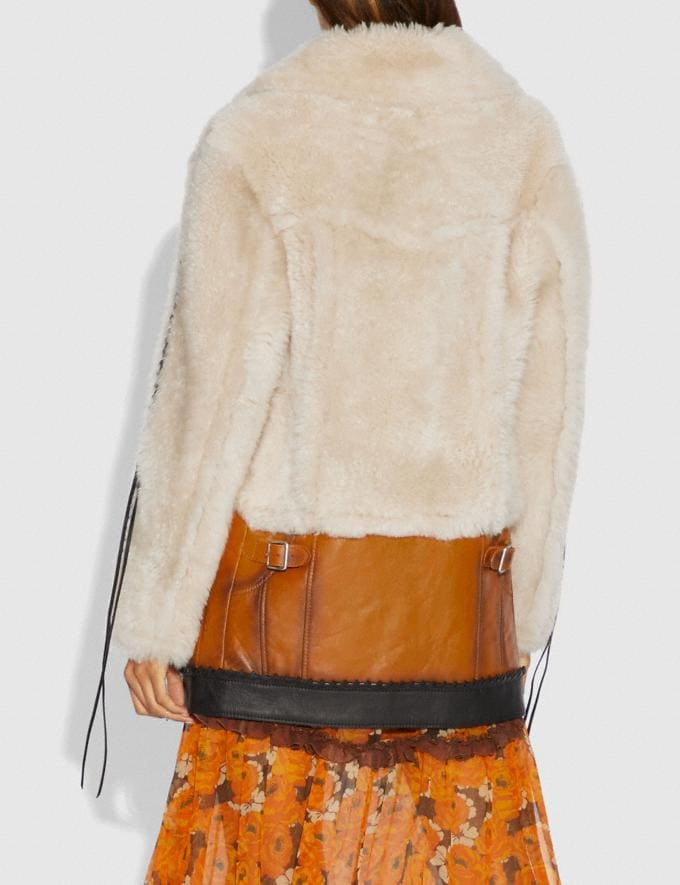 Coach Shearling Leather Coat Natural  Alternate View 2