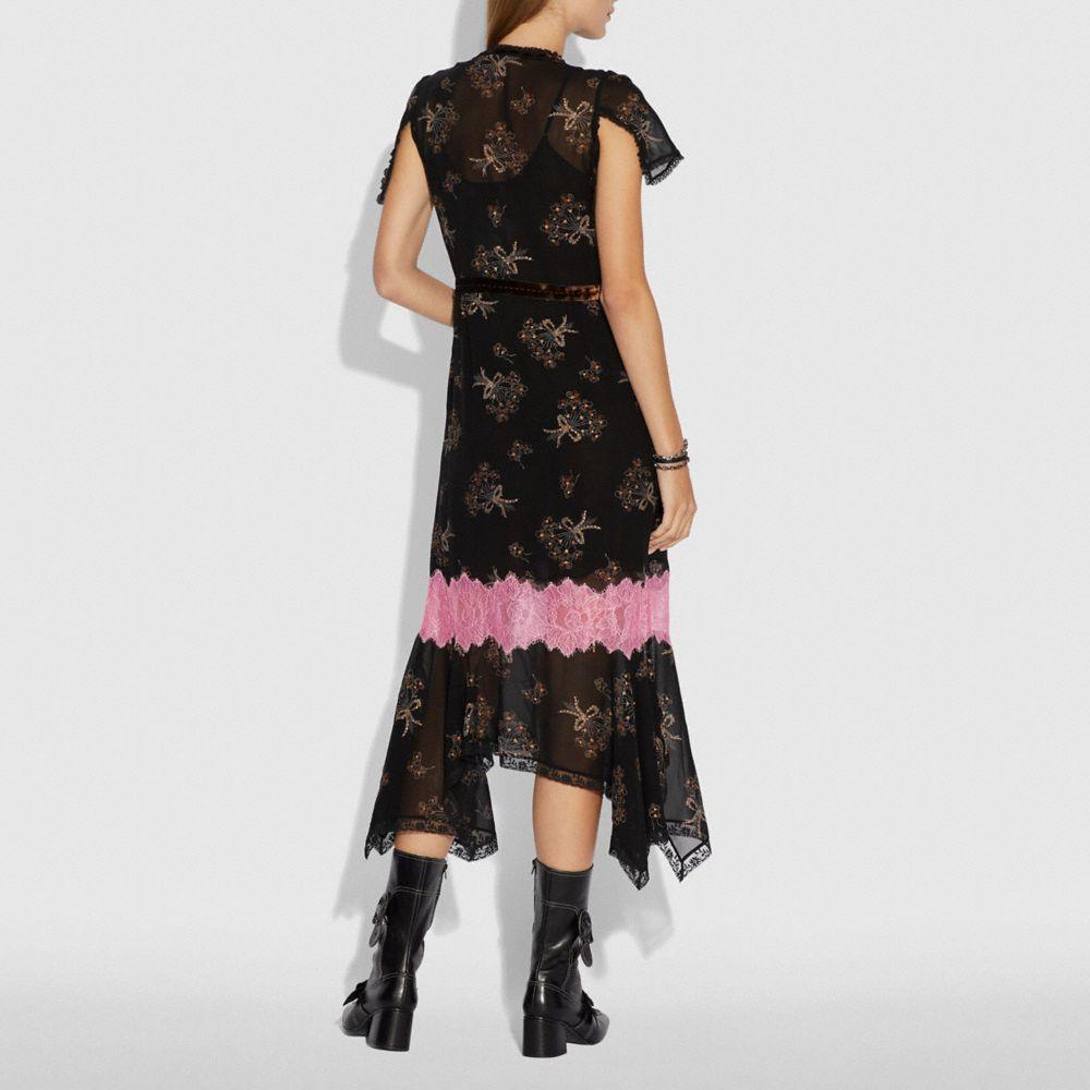 Coach Floral Bouquet Print Lace Trim Dress Alternate View 2