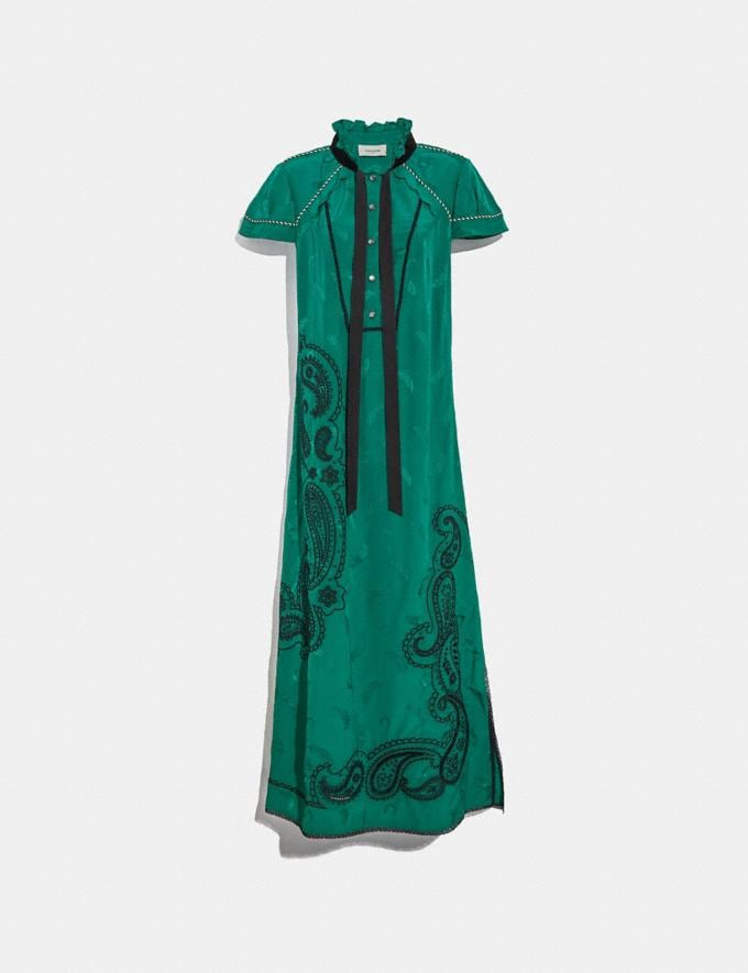 Coach Embroidered Western Jacquard Dress Forest