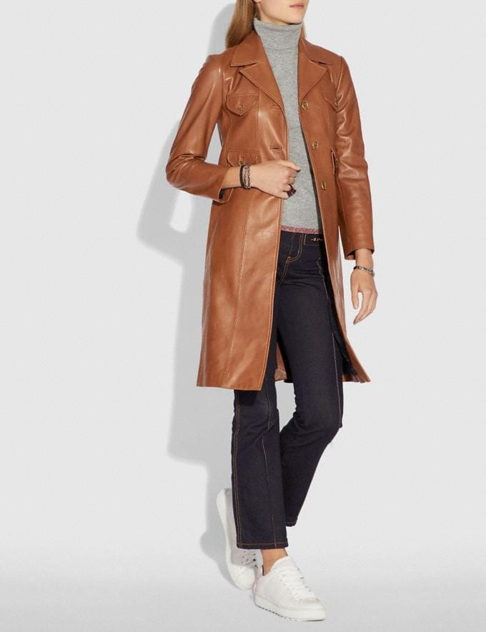 Coach Leather Coat Saddle  Alternate View 1