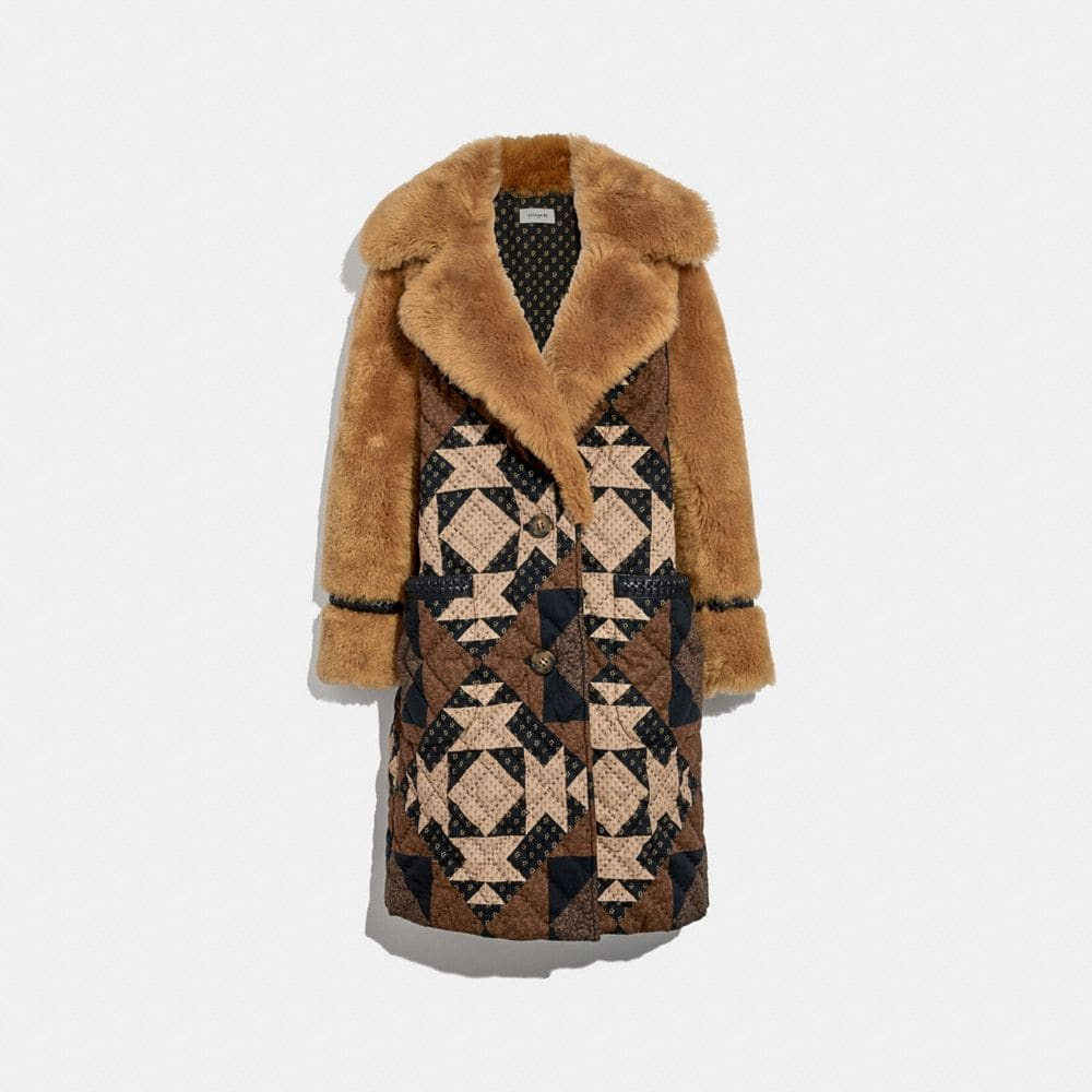 Coach PATCHWORK SHEARLING OVERCOAT