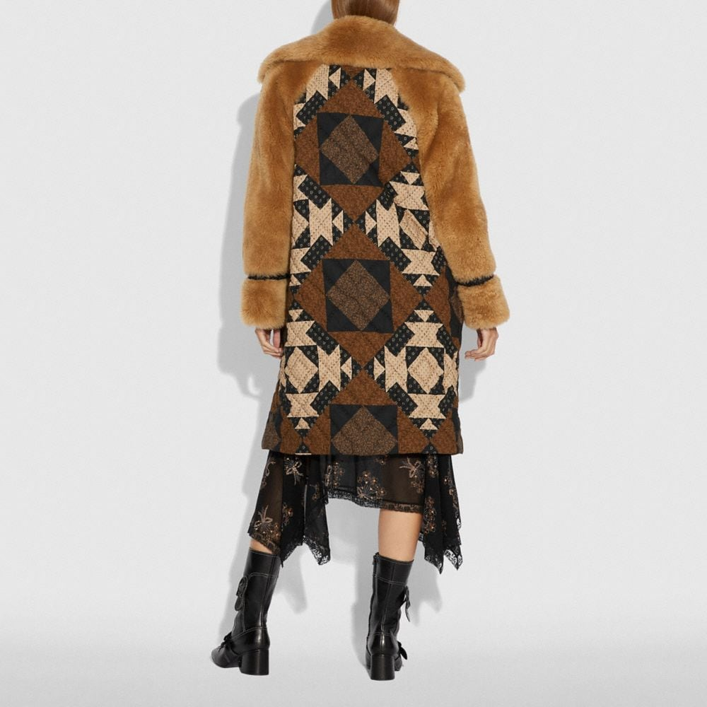 Coach PATCHWORK SHEARLING OVERCOAT Alternate View 2