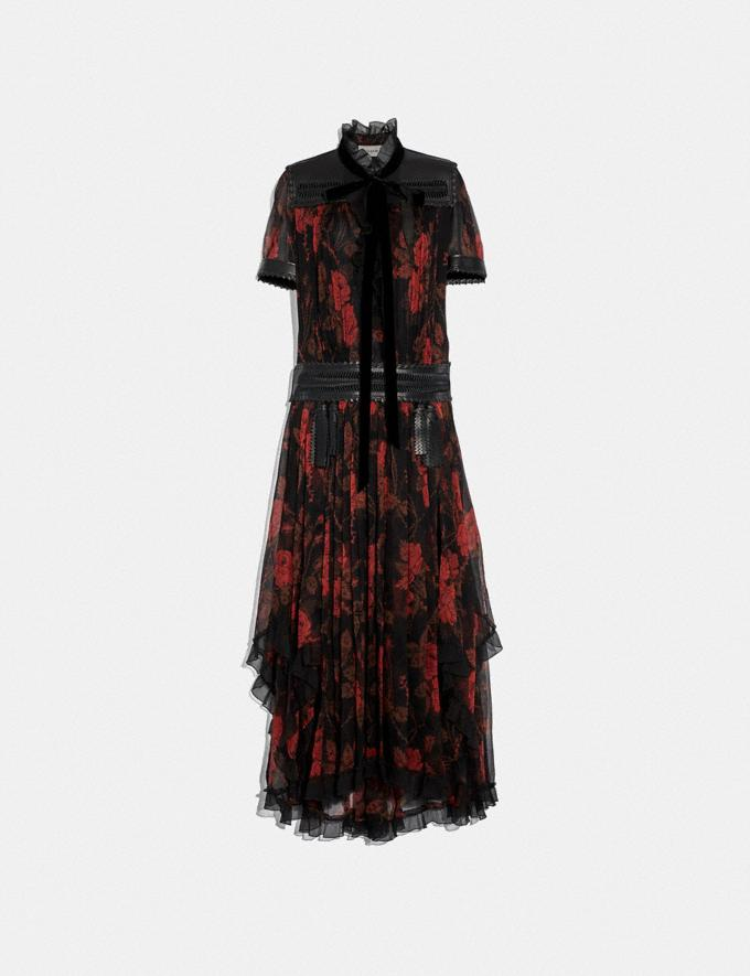 Coach Rose Print Ruffle Dress Black/Red