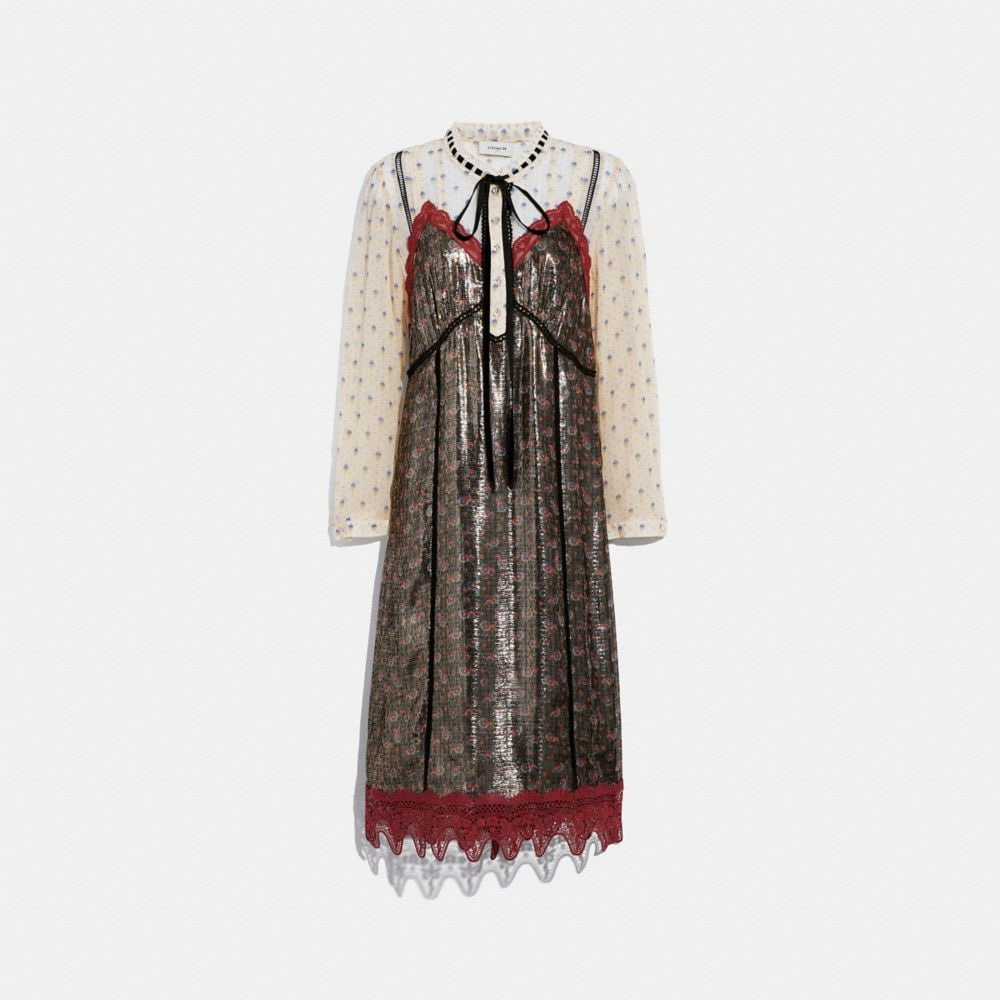 Coach Daisy Print Layered Slip Dress