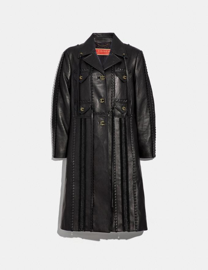 Coach Embellished Leather Coat Black