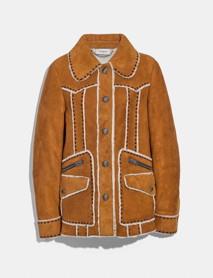 Coach Shearling Jacket Amber