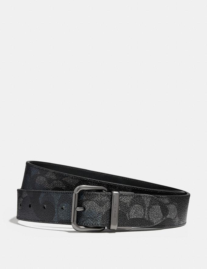 Coach Jeans Buckle Cut-To-Size Reversible Signature Wild Beast Print Belt Charcoal Men Accessories