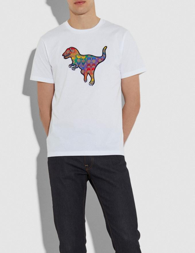 Coach Rainbow Signature Rexy T-Shirt White Men Ready-to-Wear Tops & Bottoms Alternate View 1