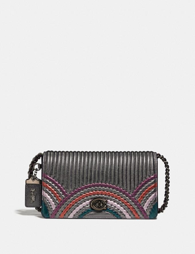 Coach Dinky With Colorblock Deco Quilting and Rivets Metallic Graphite Multi/Pewter Women Bags Shoulder Bags