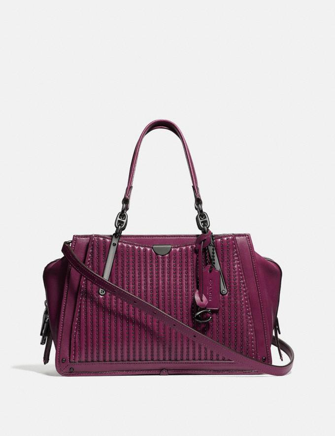 Coach Dreamer With Quilting and Rivets Dark Berry/Gunmetal New Featured Online Exclusives