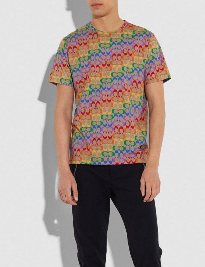 Coach Rainbow Signature T-Shirt Rainbow Signature Men Ready-to-Wear Tops & Bottoms Alternate View 1