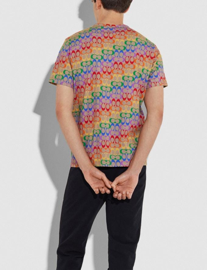 Coach Rainbow Signature T-Shirt Rainbow Signature Men Ready-to-Wear Tops & Bottoms Alternate View 2