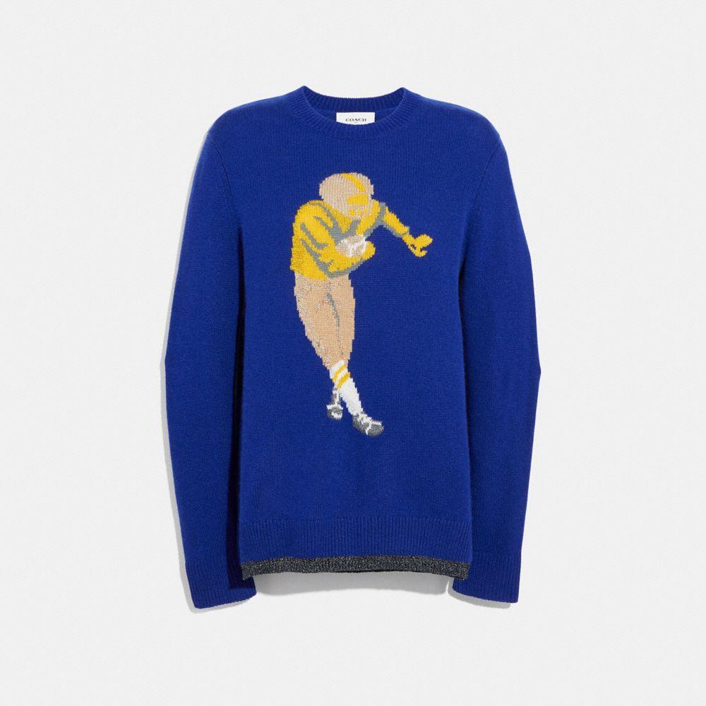 Coach Football Intarsia Sweater