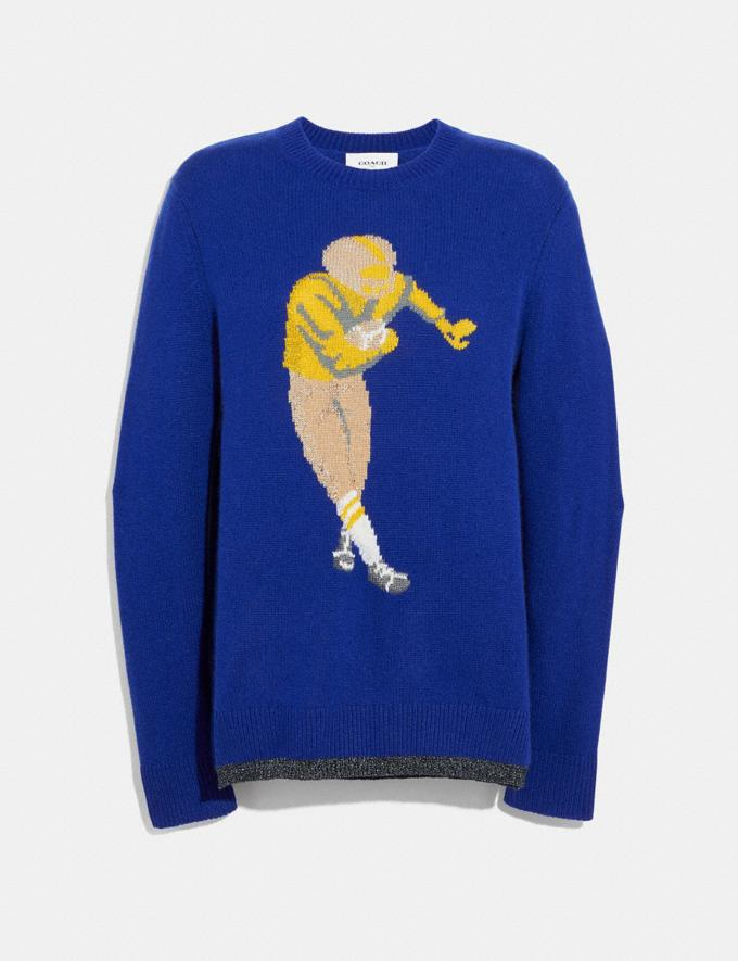 Coach Football Intarsia Sweater Blue Staff Sale