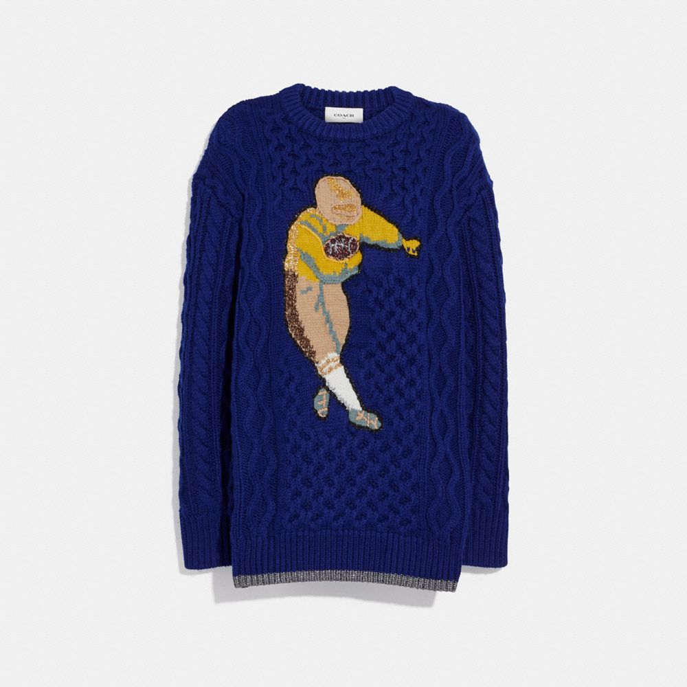football cable knit sweater