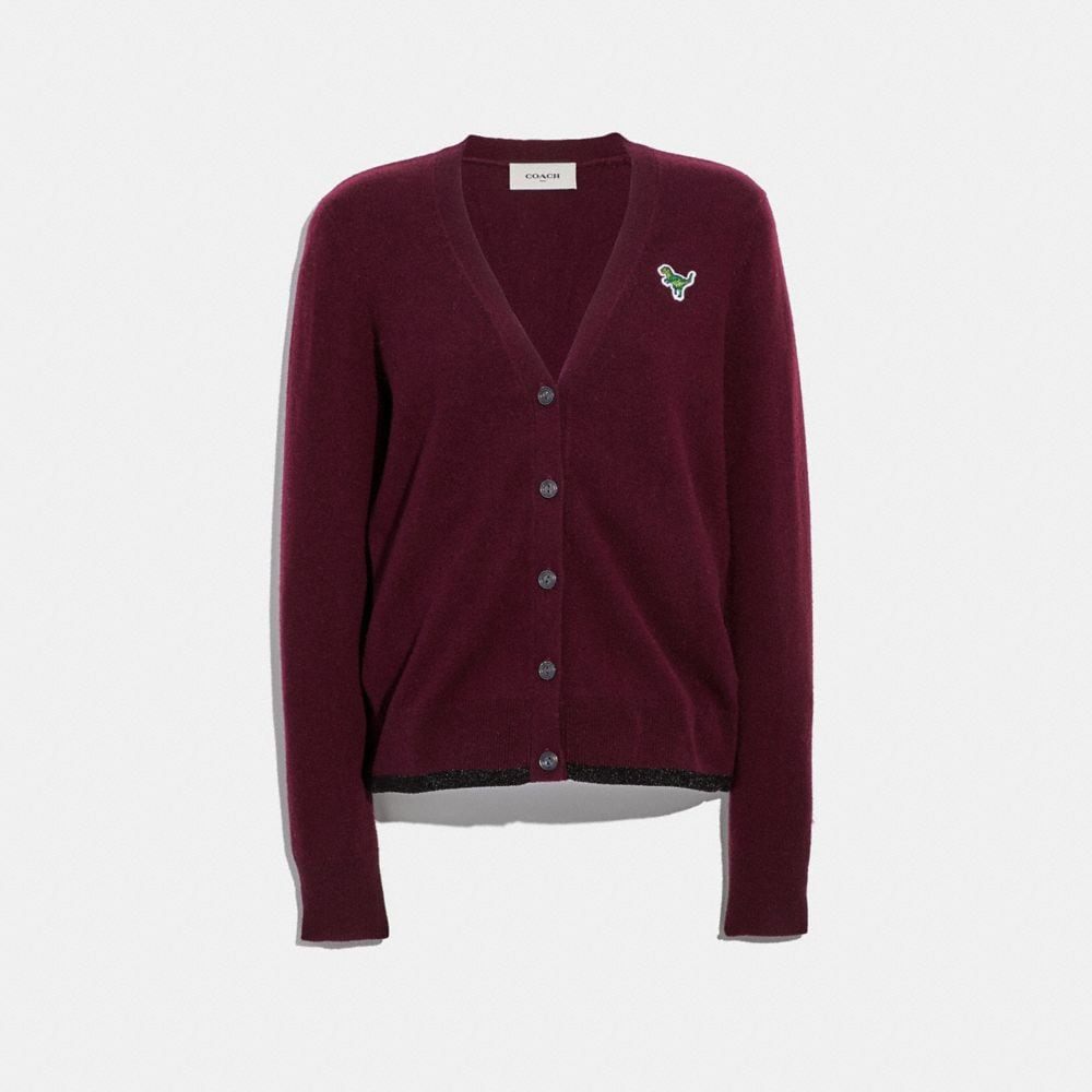 1941 Cardigan With Rexy Patch, Burgundy