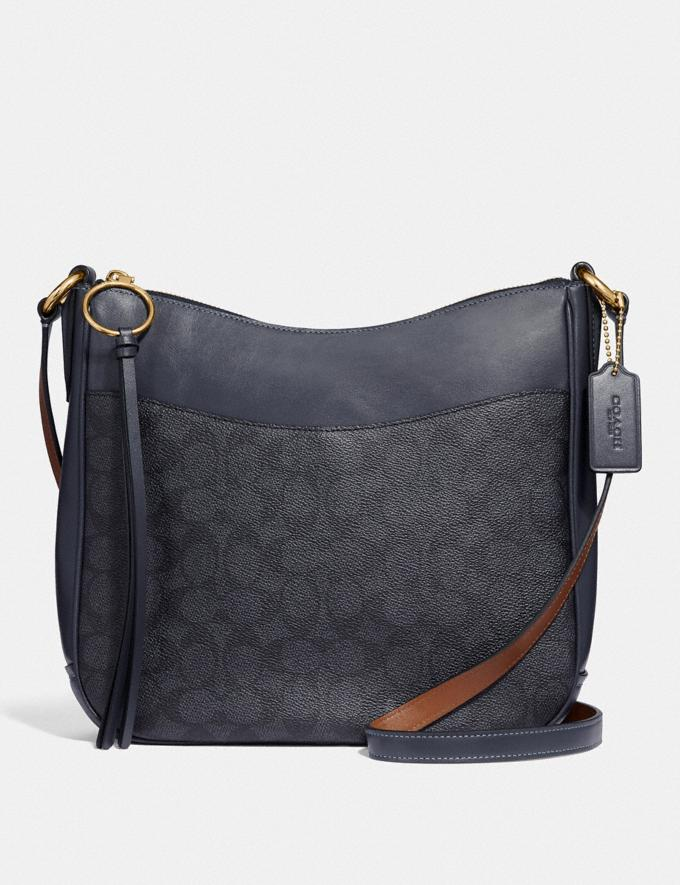 Coach Chaise Crossbody in Signature Canvas Charcoal/Midnight Navy/Gold New Featured Online Exclusives