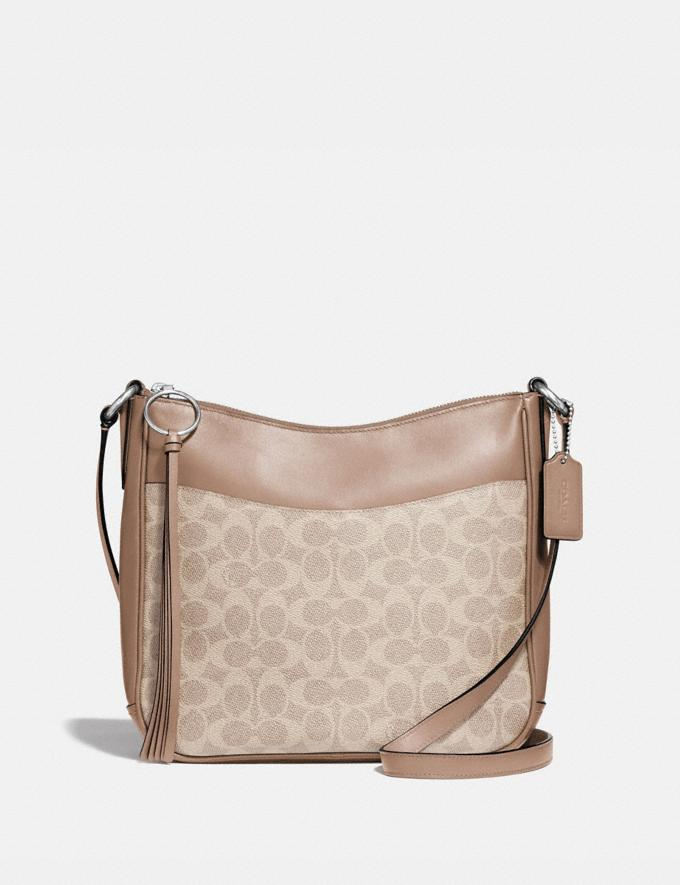 Coach Chaise Crossbody in Signature Canvas Silver/Sand Taupe