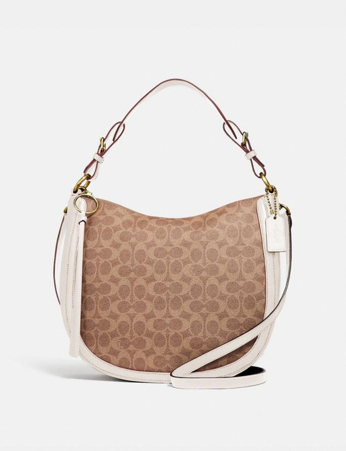Coach Sutton Hobo in Signature Canvas Tan/Chalk/Brass New Featured Online Exclusives