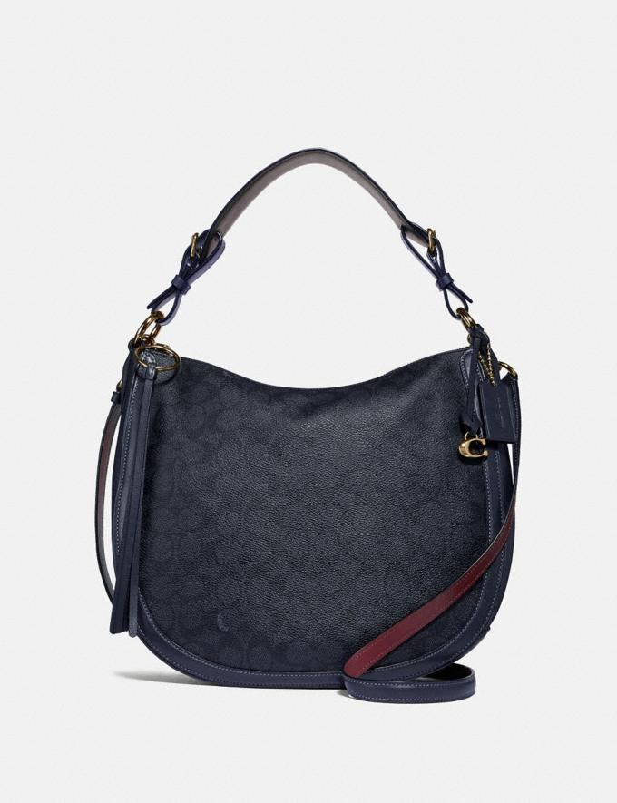 Coach Sutton Hobo in Signature Canvas Charcoal/Midnight Navy/Gold New Featured Women New Top Picks