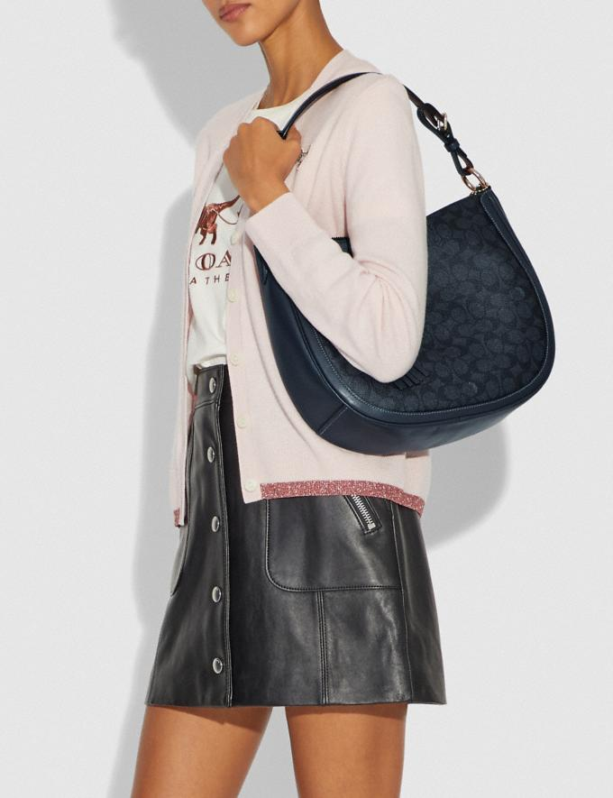 Coach Sutton Hobo in Signature Canvas Charcoal/Midnight Navy/Gold New Featured Women New Top Picks Alternate View 4