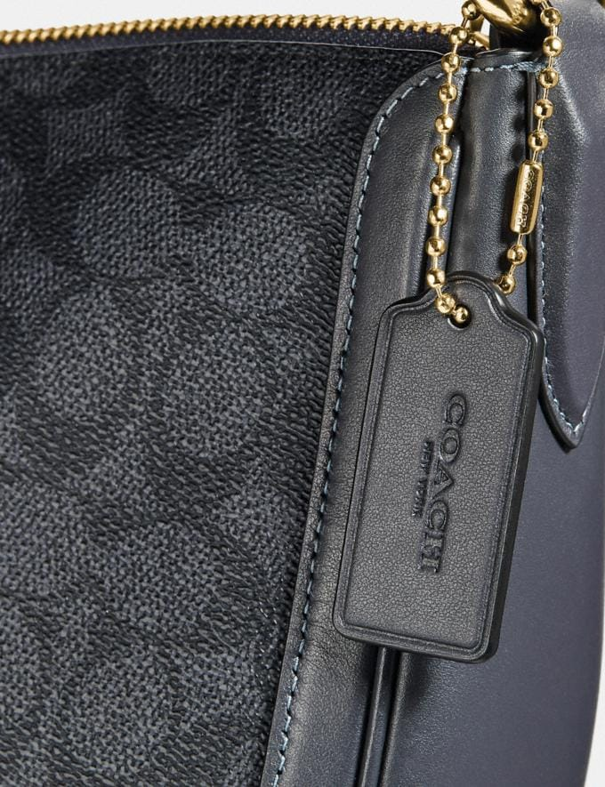 Coach Sutton Hobo in Signature Canvas Charcoal/Midnight Navy/Gold New Featured Women New Top Picks Alternate View 5