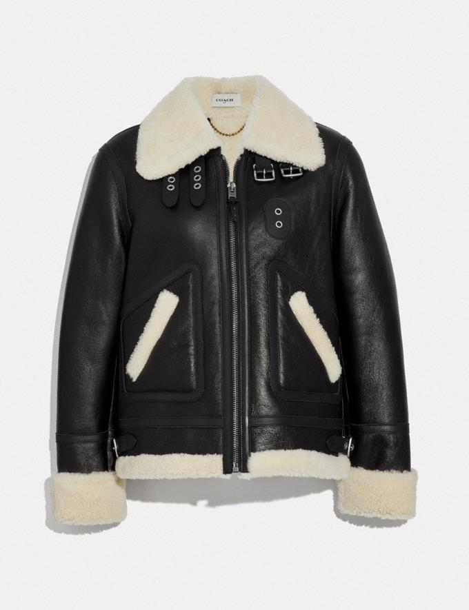 Coach Shearling Aviator Jacket Black