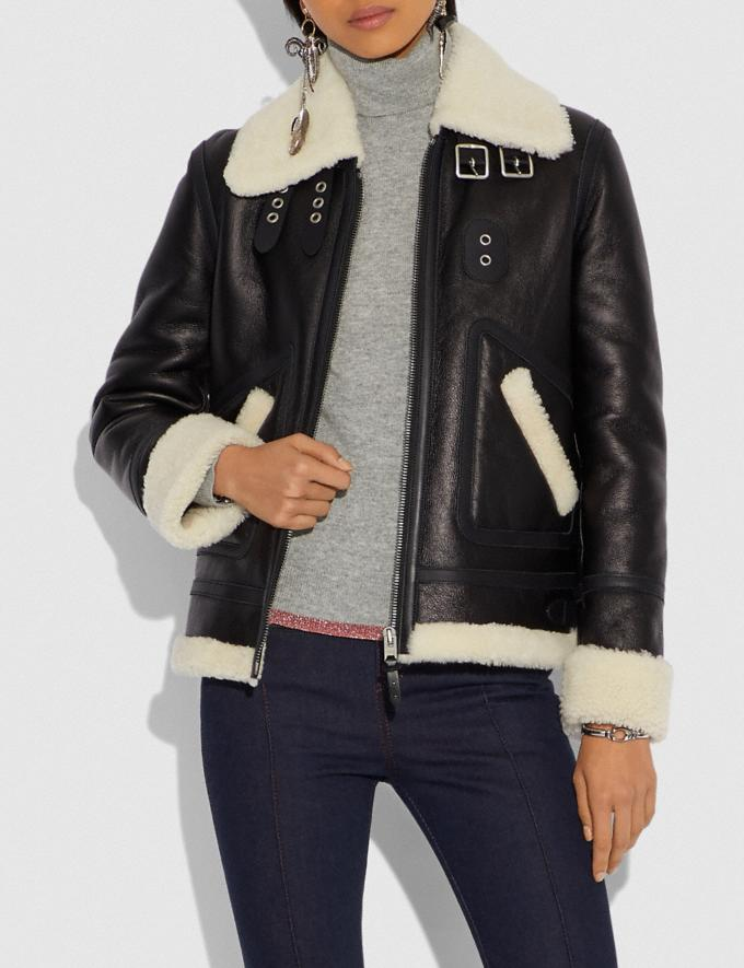 Coach Shearling Aviator Jacket Black  Alternate View 1