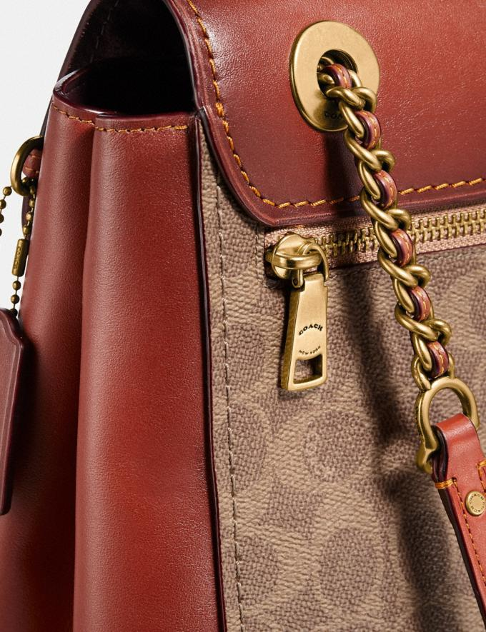 Coach Parker Convertible Backpack in Signature Canvas Tan/Rust/Brass New Women's New Arrivals View All Alternate View 4