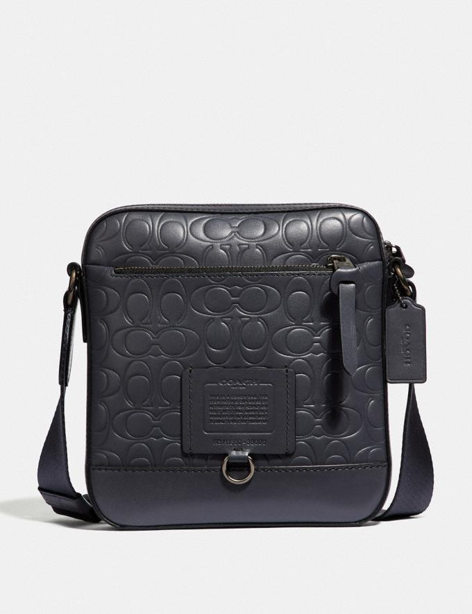Coach Rivington Crossbody in Signature Leather Midnight Navy/Black Copper Finish Women Collection Signature Styles