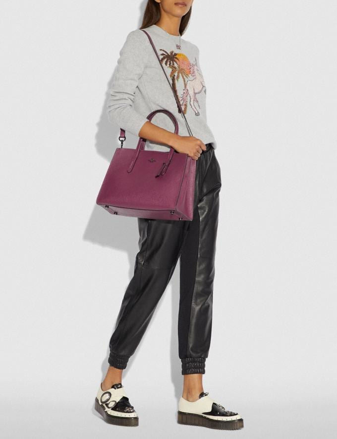 Coach Charlie Carryall With Metallic Interior Dark Berry/Gunmetal Women Bags Satchels Alternate View 3