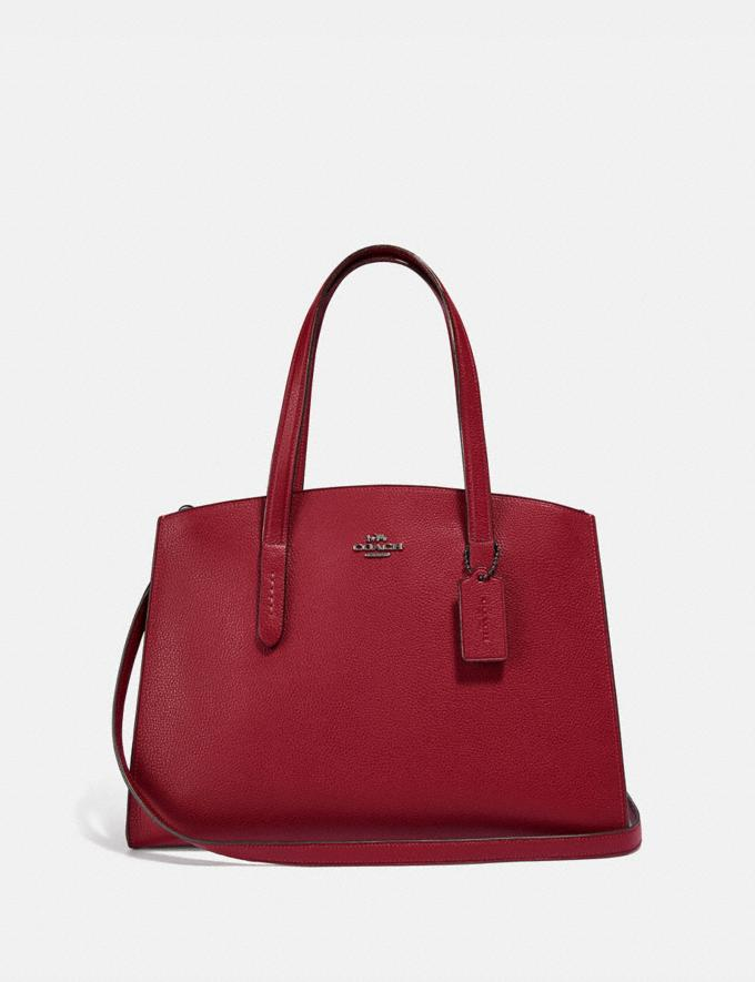 Coach Charlie Carryall With Metallic Interior Gm/Deep Red Women Bags Satchels