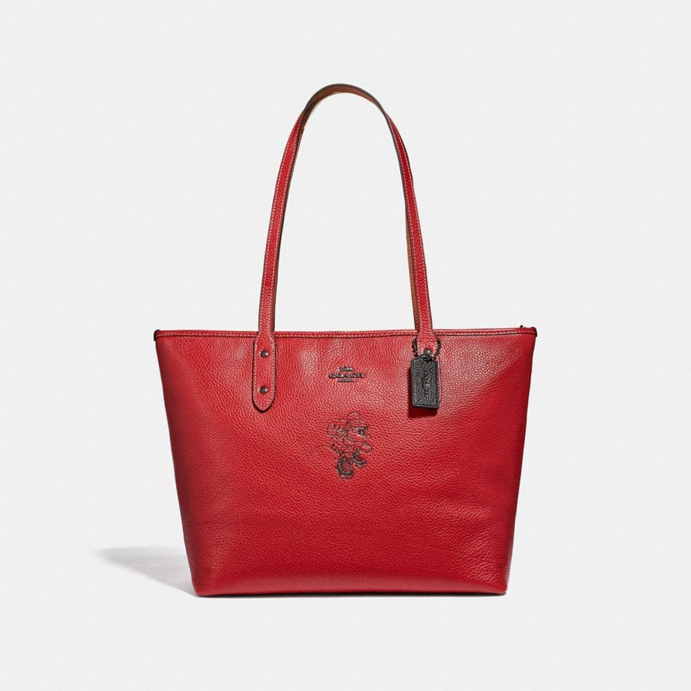 Coach Minnie Mouse City Zip Tote With Motif