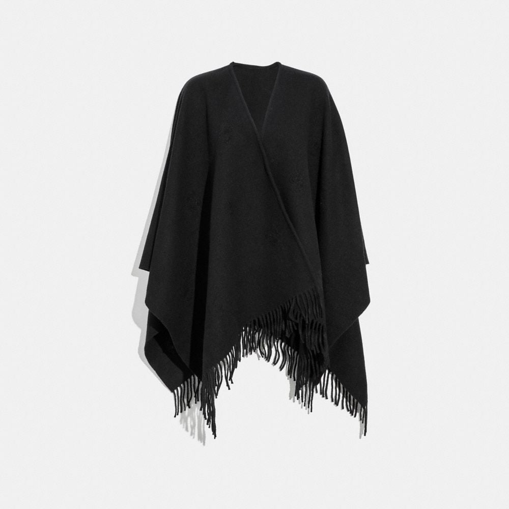 PONCHO WITH FLORAL MOTIF