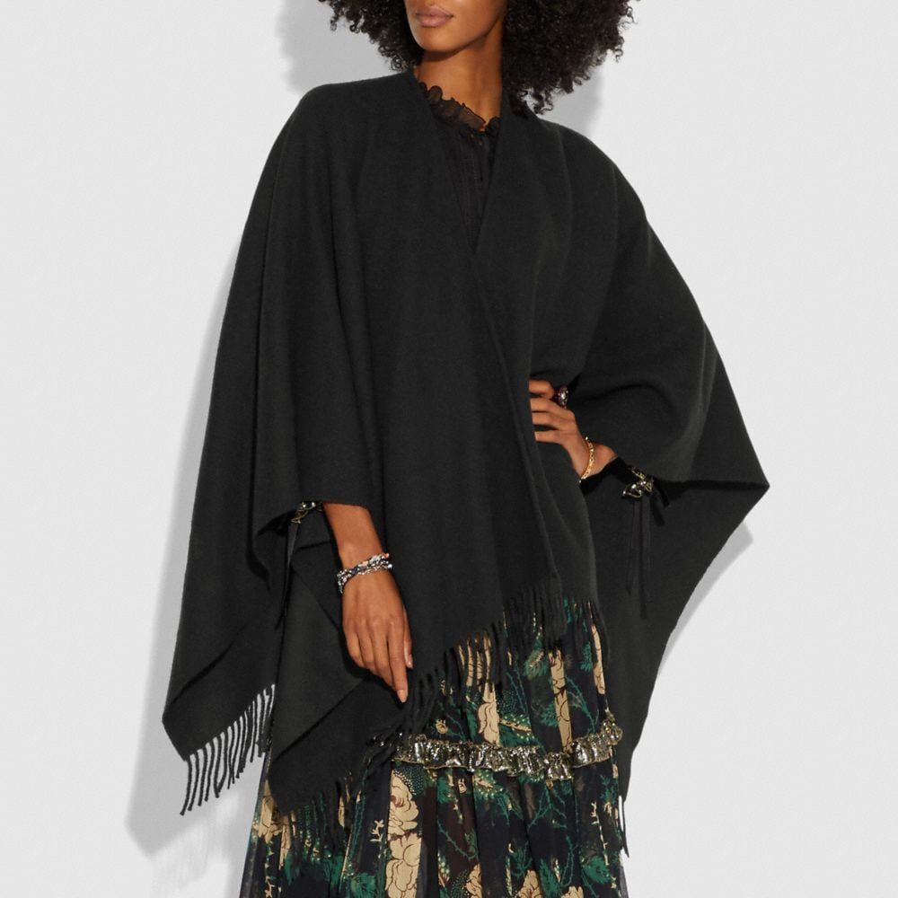 Coach Poncho With Floral Motif Alternate View 1