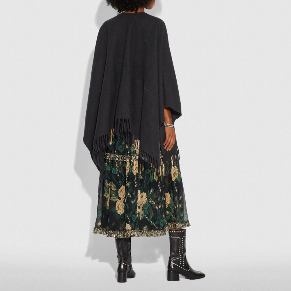 Coach Poncho With Floral Motif Alternate View 2
