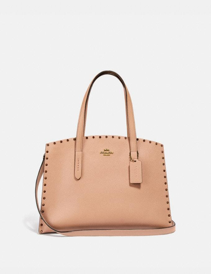 Coach Charlie Carryall With Crystal Rivets Nude Pink/Brass Women Bags View All
