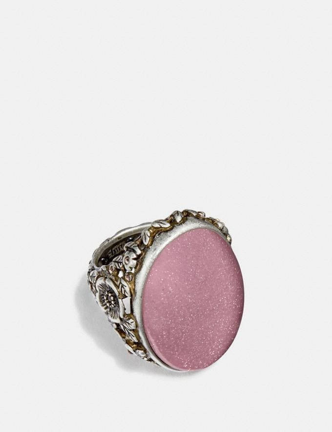 Coach Cabochon Ring Rose/Silver