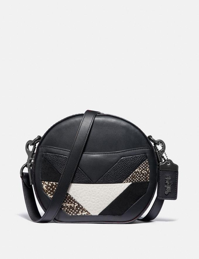 Coach Canteen Crossbody With Patchwork and Snakeskin Detail Black Multi/Pewter