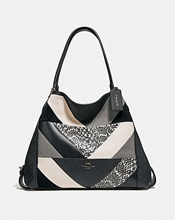 EDIE SHOULDER BAG 31 WITH PATCHWORK AND SNAKESKIN DETAIL