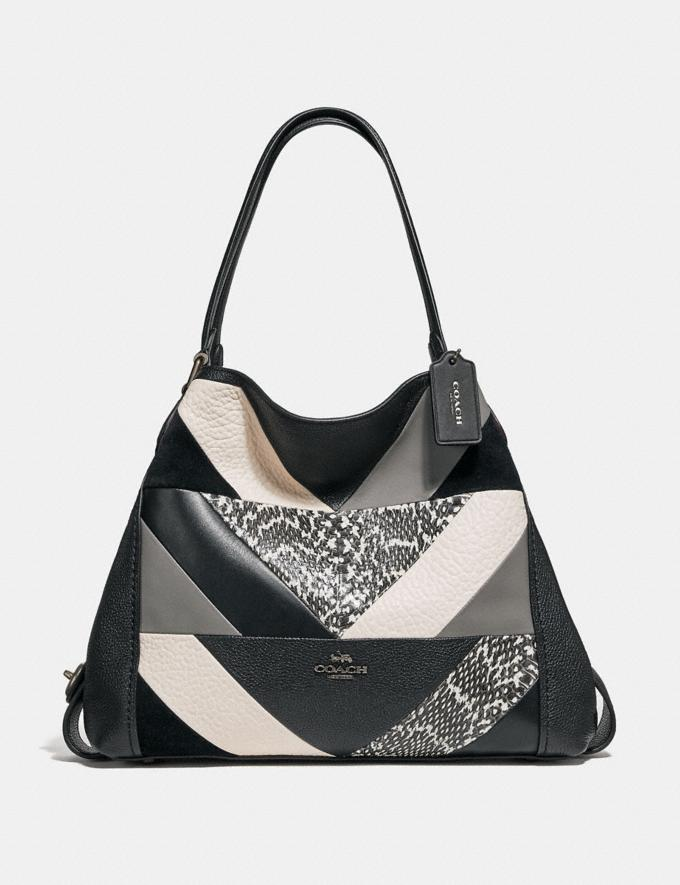 Coach Edie Shoulder Bag 31 With Patchwork and Snakeskin Detail Black