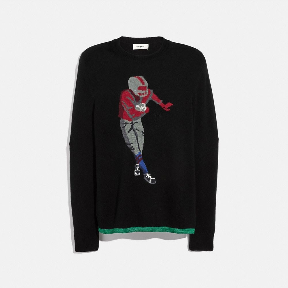 footballer intarsia sweater
