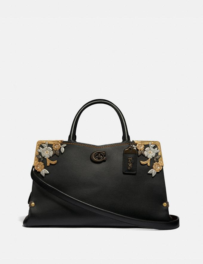 Coach Mason Carryall With Metal Tea Rose Black/Pewter Gifts For Her Luxe Gifts