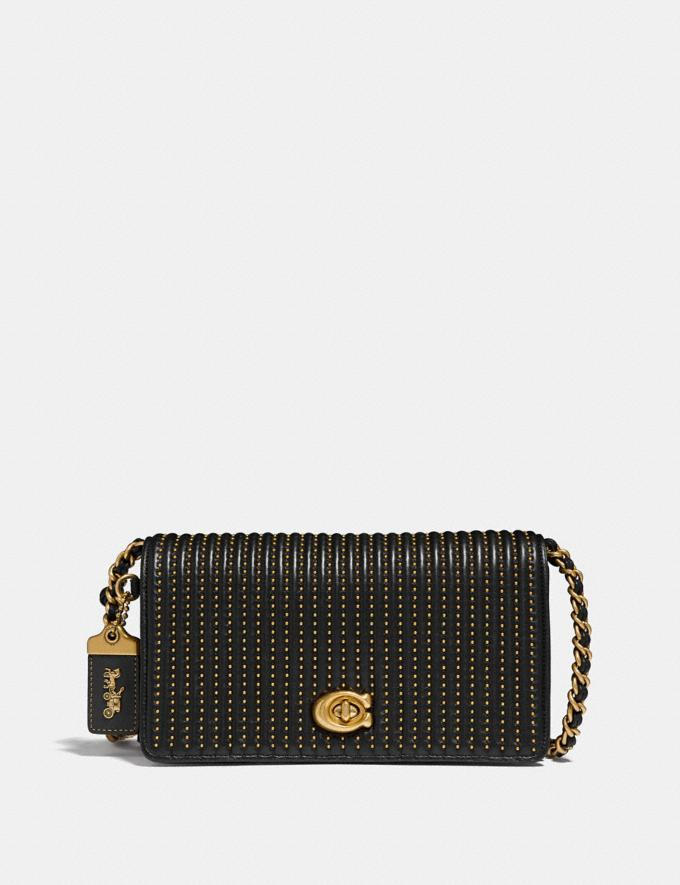 Coach Dinky With Quilting and Rivets Black/Brass New Featured Online Exclusives