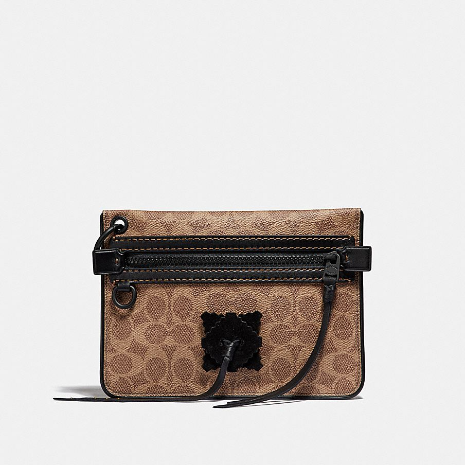 8b2c85f9bb COACH  Pouch 22 in Signature Canvas With Whipstitch
