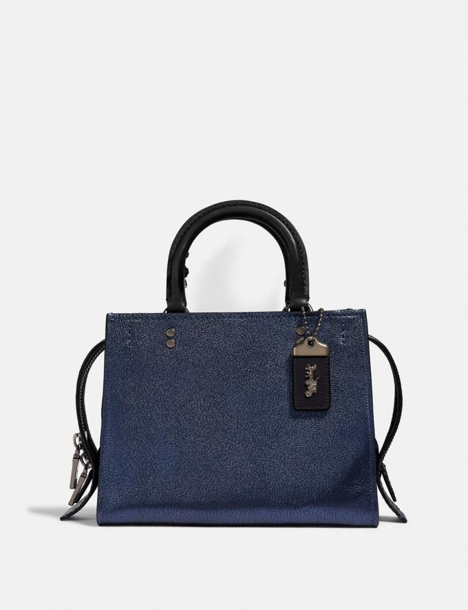 Coach Rogue 25 With Snakeskin Detail Metallic Blue/Pewter Women Collection Rogue