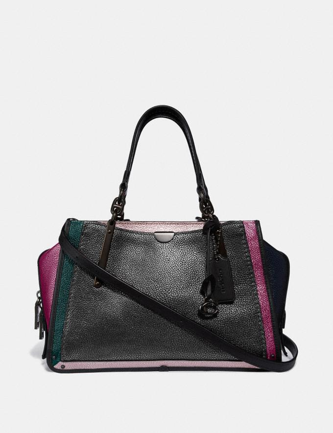 Coach Dreamer in Colorblock Metallic Graphite Multi/Pewter Women Bags Satchels